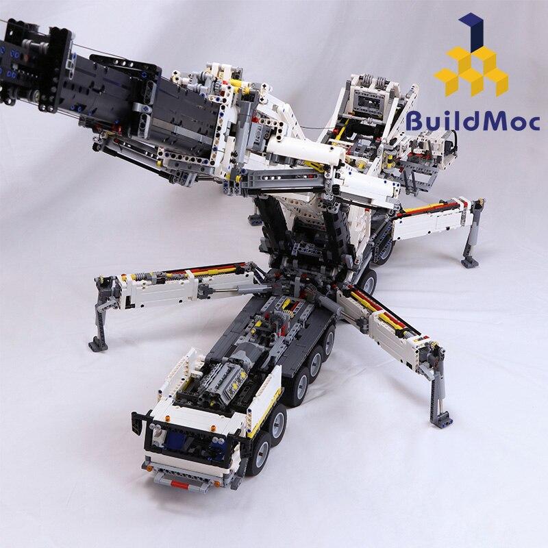 Construcción de grúa móvil de nueva potencia LTM11200 RC liebherrrr Kits de Motor técnico bloques de ladrillos cumpleaños niños regalo C104 - 5
