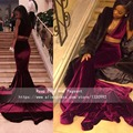 Sexy Profundo Decote em V Sem Mangas de Veludo Duas Peças Borgonha Prom vestidos 2017 Real Amostra Longo Tribunal Trem Da Sereia de Baile Africano dress