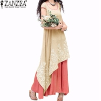 ZANZEA Women 2016 Summer Vintage Casual Loose Dress O Neck Short Sleeve Floral Embroidery Two Layers