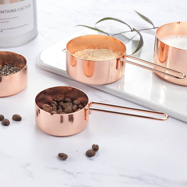 4Pcs Stainless steel Measuring Cups Set Luxury Copper Plated Kitchen Measuring Tools For Baking Coffee Tea Cuchara dosificadora 4