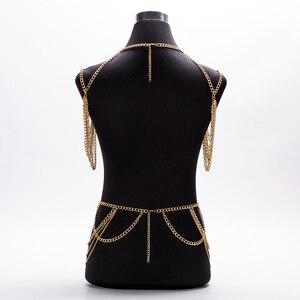 Image 5 - חם 2020 תכשיטים אביזרי פאנק כבד מתכת רב שכבתי ציצית זהב גוף שרשרת ארוך שרשרת הצהרה לנשים
