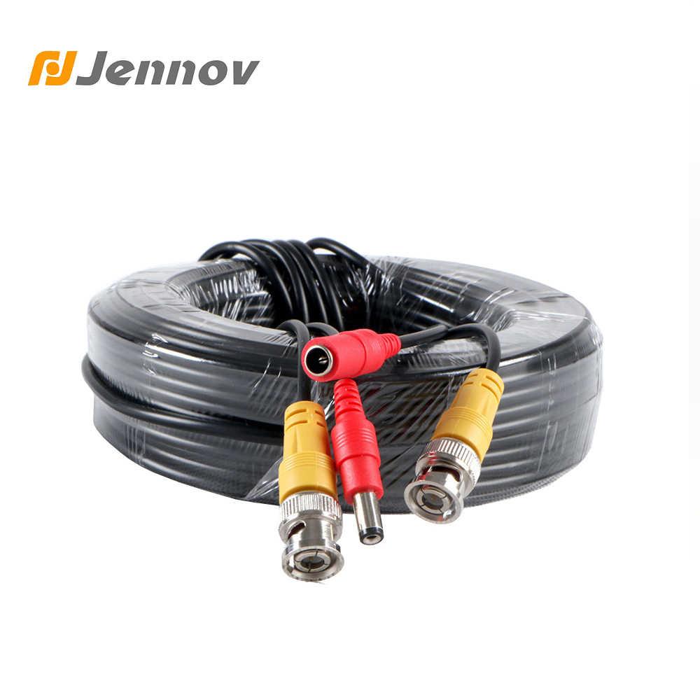 Jennov 30 м BNC видео и адаптер питания 12 В DC Встроенный кабель для аналогового 5 м 10 м 18 .. 3 м 20 м CCTV DVR системный комплект для фотокамеры