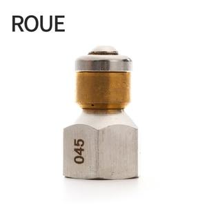 """Image 1 - Roue arruela de alta pressão, acessório de arruela de alta qualidade bsp 1/4 """", bocal de entrada, 3 bocais de metal, bico de esgoto rotativo"""