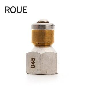 """Image 1 - Roue 고품질 고압 세척기 액세서리 bsp 1/4 """"입구 3 노즐 호스 금속 노즐 회전 하수도 노즐"""