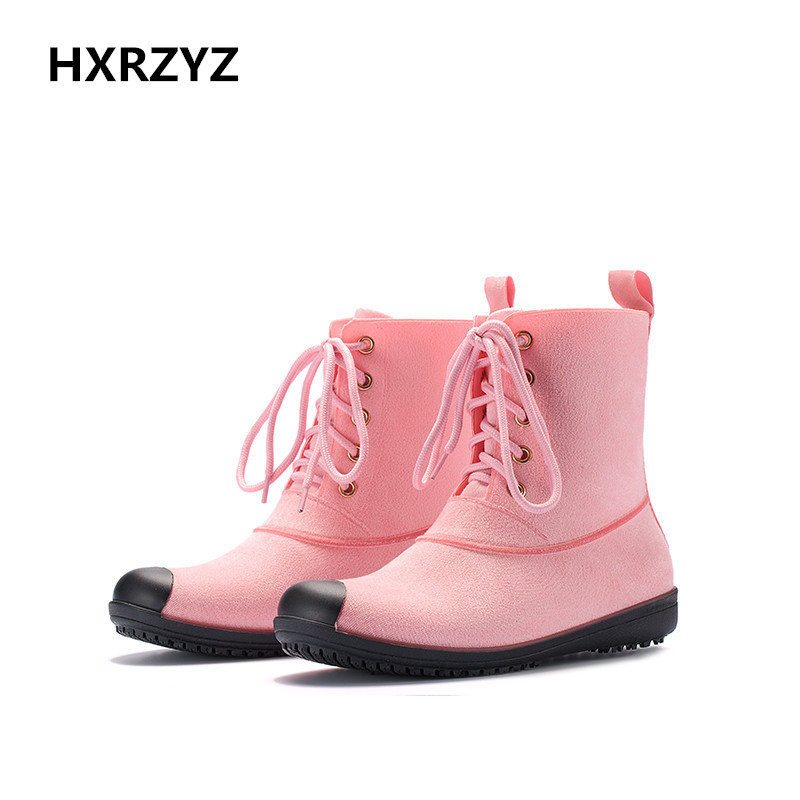 HXRZYZ Europe and the United States fashion lady short tube rain boots Waterproof non-slip rubber boots suede shoes women f1788 2017 newinferior smooth pointed high women s shoes with ankle boots fine low europe and the united states pointe