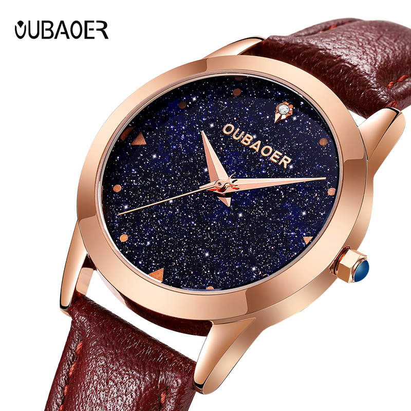 New Lady Fashion Watch Women OUBAOER Elegant Wristwatch Quartz women wrist watch dress Clock Relogio Feminino Montre Femme цена 2017