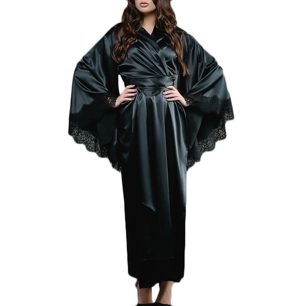 Women Lace Satin Kimono Nightdress Long Robe Sexy Bathrobe Lingerie  Belt Sexy Sleepwear Ladies Fashion New Summer 2019 Black