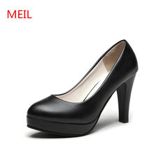MEIL 2018 Women pumps Work platform Shoes Fashion High heels ladies shoes female patent leather wedding party shoes woman(China)