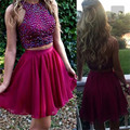 Elegant A-line Two Pieces Gown Halter Cocktail Dress Chiffion Special Crystals Rhinestone Above Knee,Mini Homecoming Dress