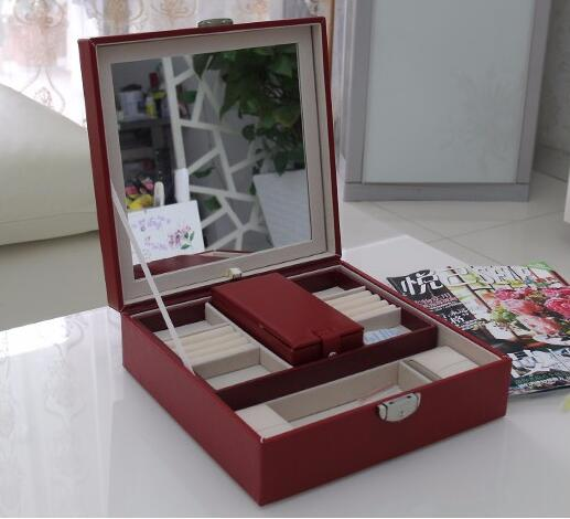 free shipping 25*25*8.5cm red high grade double layer jewelry storage box 50w 25 led red