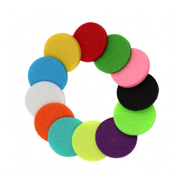20 unids/lote de almohadillas de fieltro coloridas para Perfume 30mm 24mm 22mm 18mm 15mm medallón accesorios difusores de aceite esencial