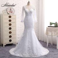 Vestido De Noivas Sereia 2016 Lace Long Sleeve Mermaid Wedding Dress Sexy Back Lace Wedding Dress