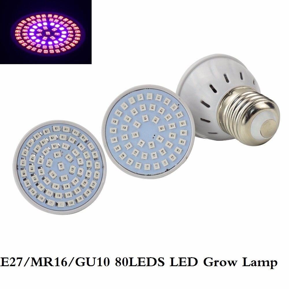 80LEDs Full Spectrum E27 E14 GU10 MR16 220V Faster Led Grow Light Spot Lamp UV IR Red Blue For Flower Plant Hydroponics Bulb