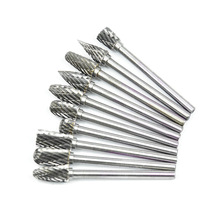 цена на 10pcs 1/8 Shank Tungsten Carbide Milling Cutter Rotary Tool Burr Double Diamond Cut Rotary for Dremel Tools Electric Grinding