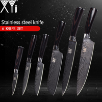 XYj Kitchen Knives 6pcs Set High Carbon 7Cr17 Stainless Steel Knife Patterned Cooking Tools Paring Utility Santoku Slicing Chef