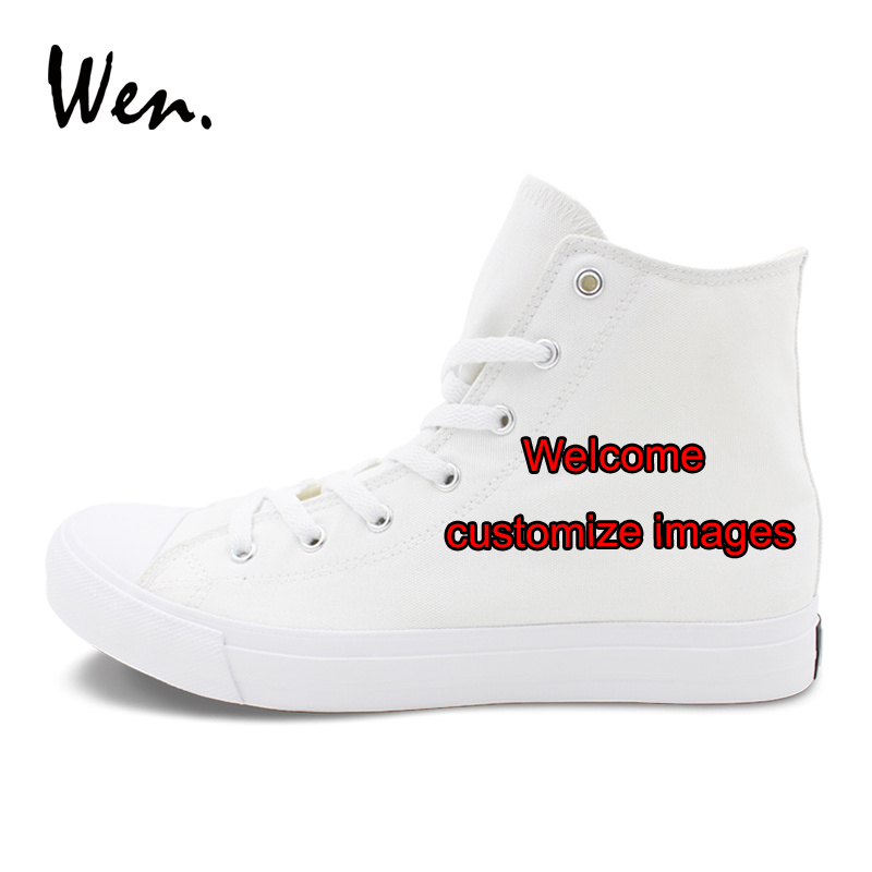 Wen WHITE High Top Canvas Shoes Custom Hand Painted Shoes Welcome Customize Images Accept Bargain According to Complexity