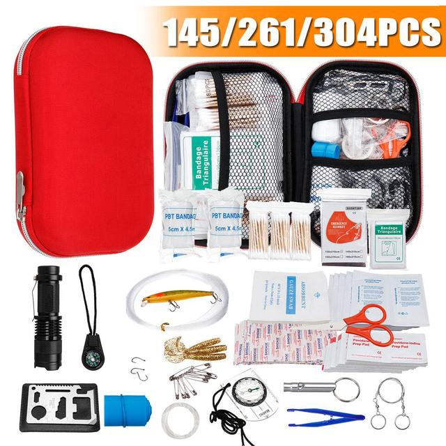 145/261/304 Pcs Mini Safe Camping Hiking Car First Aid Bag Kit Outdoor Home Medical Emergency Kit Survival Rescue Treatment Pack