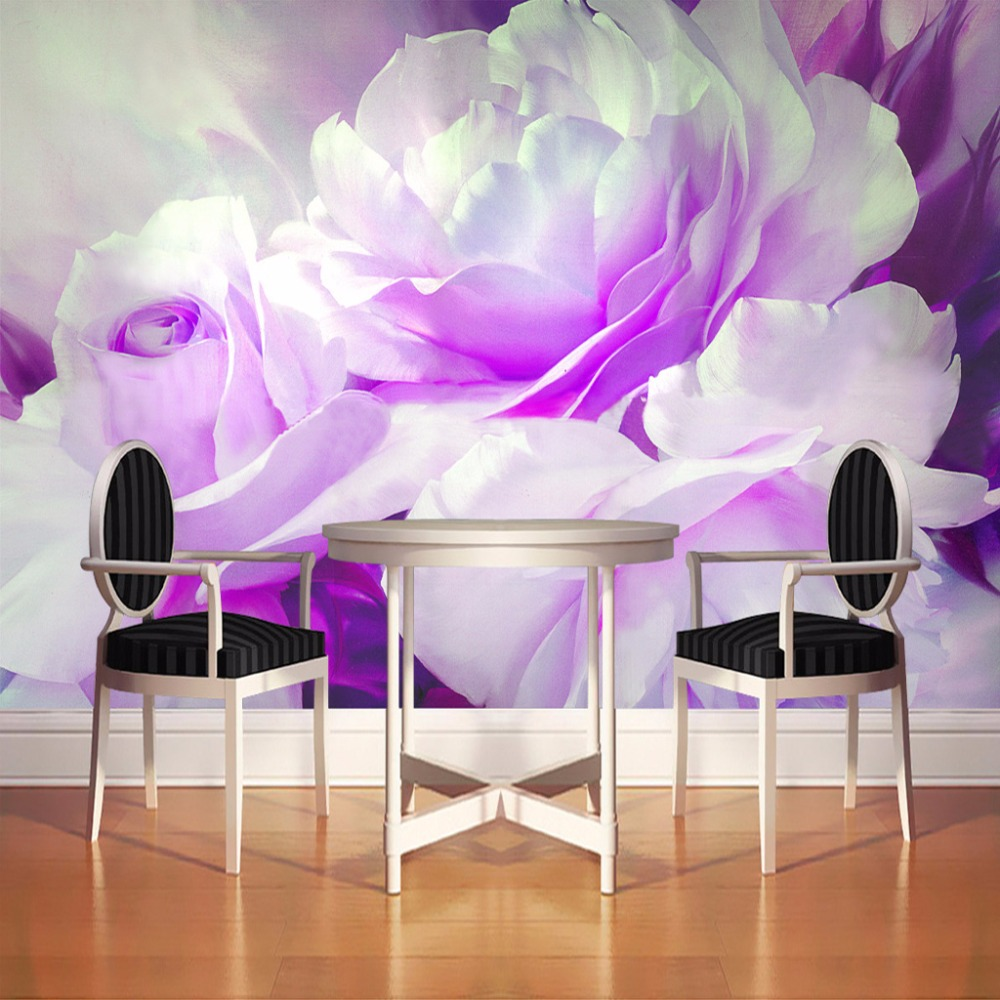 Non-woven Printing Wall Paper High Quality Oil Painting Purple Peony Wall Mural Custom Living Room Bedroom Wall Decor Wallpaper