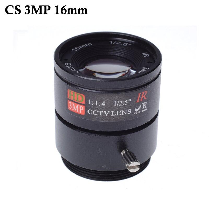 Wholesale CCTV LENS 16mm 20 degrees 1/2.5  3MP F1.4 Fixed CS Mount Mega Lens 1080P HD CCTV Lens For  CCTV Camera