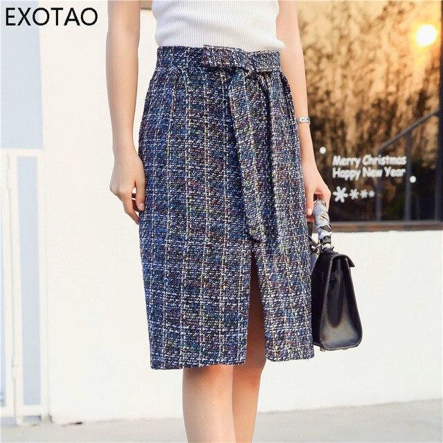 fc487677db99 EXOTAO Striped Midi Skirt Ladies Front Slit A-Line Knee-Length 2017 Autumn  Saia Feminina Bow Design Zipper Slim Office Warm Jupe