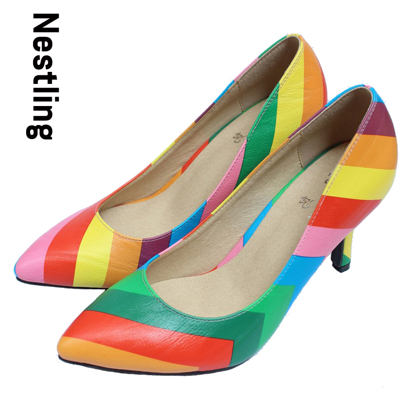 New 2017 Fashion  sexy pointed toe high heels Rainbow Color leather women pumps shoes woman Size 34-41 D45 prorab 2422 нк