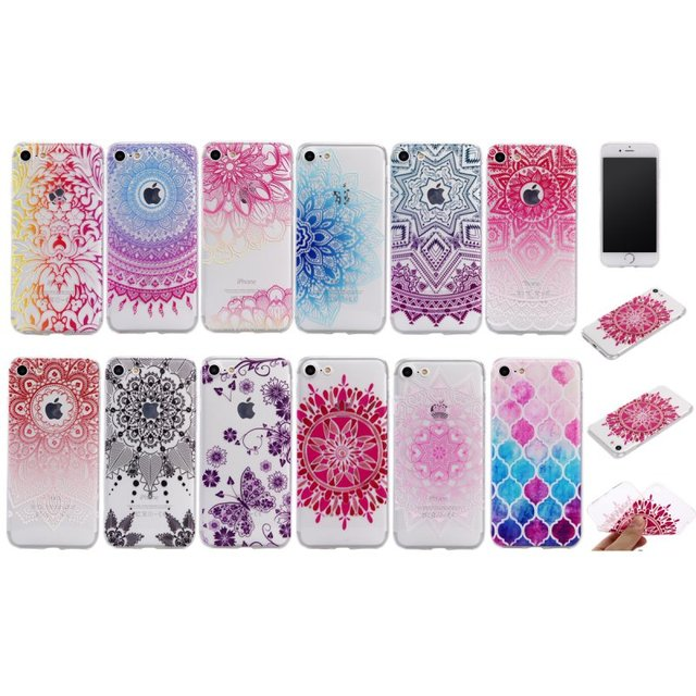 Mobile Phone Cases For Apple iPhone 7 Ultra Clear Silicon Mandala Flower  Thin TPU Back Gel f112657dfe