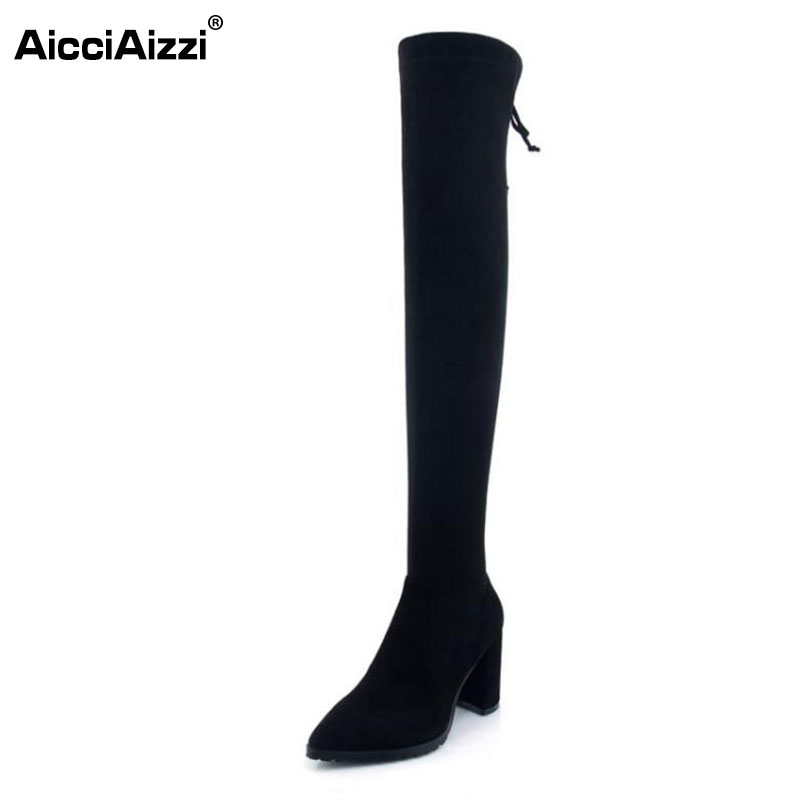 AicciAizzi Women Real Leather High Heel Boots Women Bowtie Zipper Over Knee Boots Winter Shoes Warm Woman Footwears Size 34-39 woman real leather boots 2015 new winter boots black apricot zipper fashion martin boots 34 39 comfortable women knee high boots