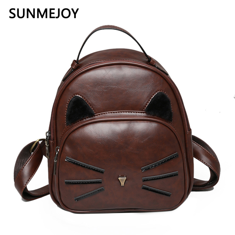 SUNMEJOY Students PU Leather Backpack Lovely Cat rucksack For Teenage Girls School Bags Lady s Preppy