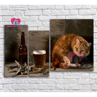 Diamond mosaic cat Triptych diamond embroidery 5d diy diamond painting full drill resin Mosaic pictures diy kit Picture modular