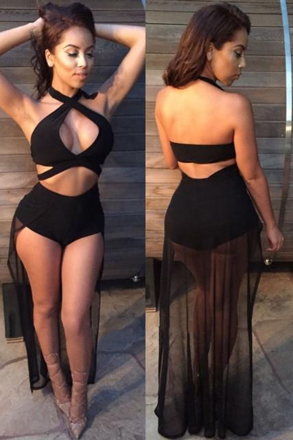 ab93c05ef67 Crisscross Sexy Women Halter Black Mesh Bodysuit Jumpsuit Shorts Cutout  Jumper Romper Bandage Overalls Party Club Wear Q60759