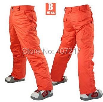 2014 mens orange red ski pants sky blue snowboarding pants for men sports snow pants black waterproof 10K windproof free ship blue sky чаша северный олень