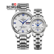 Original Binger Fashion persona couple watches Analog full metal case Casual Wristwatch Automatic ladies's lover's watch