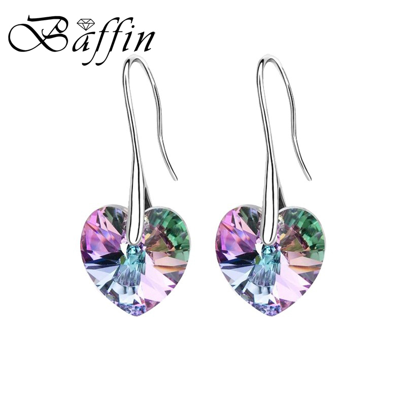 BAFFIN Drop Earrings Hanging Hearts Crystals From Swarovski For Women Hot Selling Silver Color Ear Jewelry Best Friends Gift
