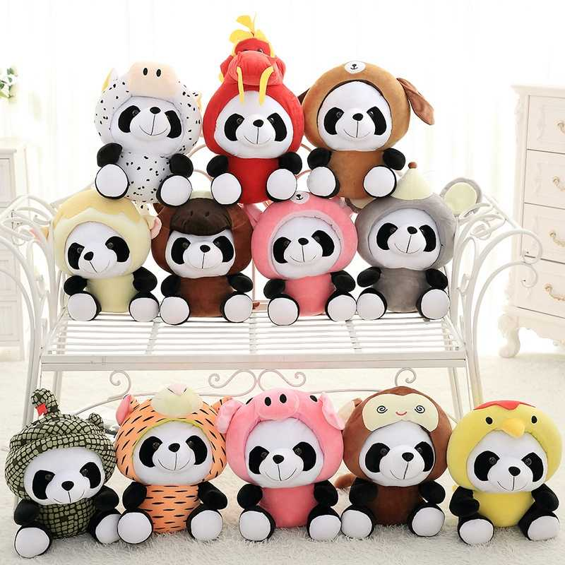 Baby Cute Panda Plush Toy Cartoon Animals 12 Chinese Zodiac Soft Toy Pendant Pandas Dolls Plush Stuffed Toys For Children Gifts