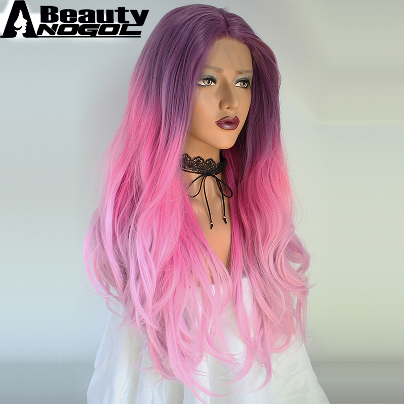 ANOGOL BEAUTY High Temperature Fiber Peruca Cabelo Long Natural Wave Full Hair Wigs Purple Ombre Pink Synthetic Lace Front Wig