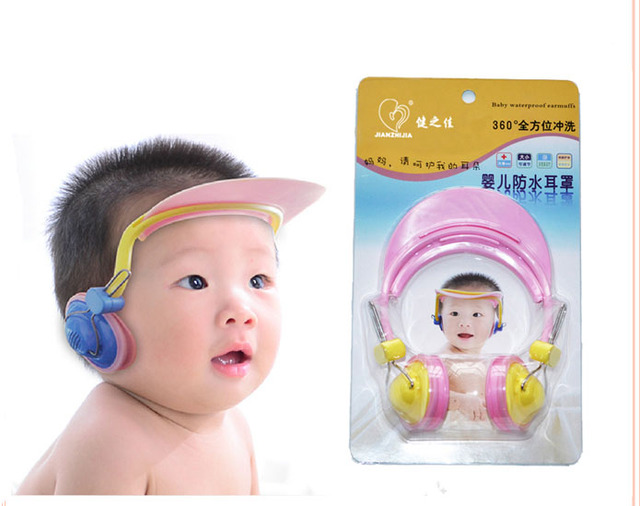 4-6 Months Plastic Adjustable Baby Bath Shampoo Infant Children Earmuffs Waterproof Shower Cap