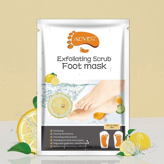 1 Pair Lemon Exfoliating Foot Mask Moisturizing Hydrating Whitening Feet Care Remove Dead Skin Foot Peel Foot Mask TSLM2 4