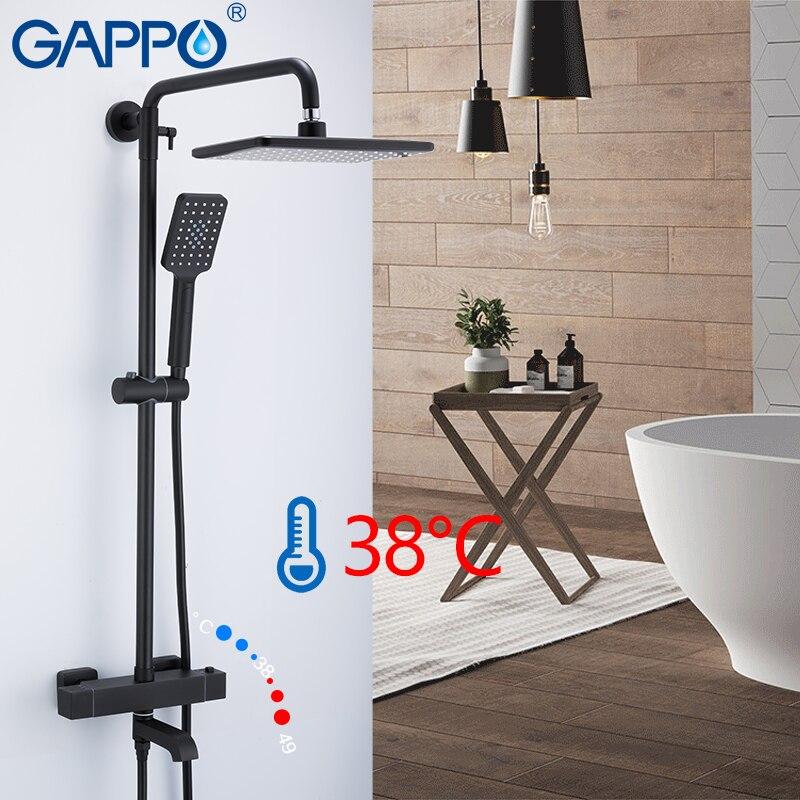 GAPPO robinet de douche salle de bain mitigeur de douche noir robinet mitigeur thermostatique robinet cascade robinets de baignoire mural