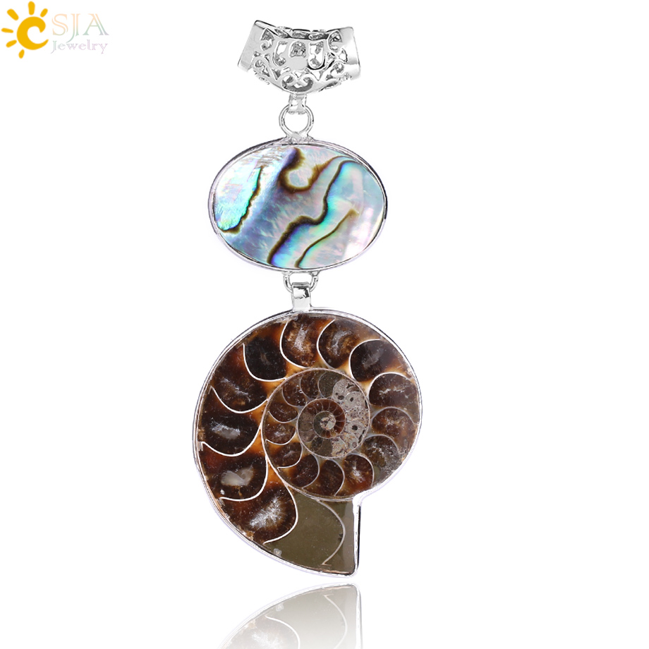 """A GENUINE AMMONITE FOSSIL SHELL SNAIL PENDANT NECKLACE ON 18/"""" CHAIN NEW."""