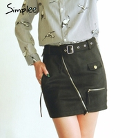 Simplee Suede zipper mini skirt women Streetwear motorcycle belt pencil skirt Fashion elegant winter short skirt female 2017
