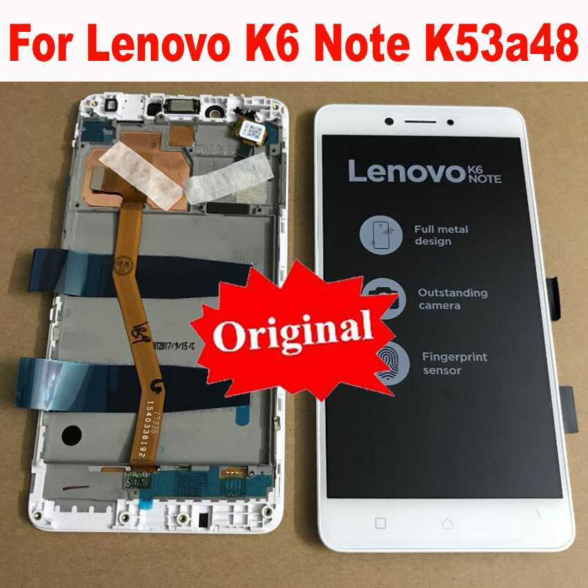 Original New Full LCD Display Touch Panel Screen Digitizer Assembly With Frame For Lenovo K6 Note K53a48 Glass Sensor Replacemen
