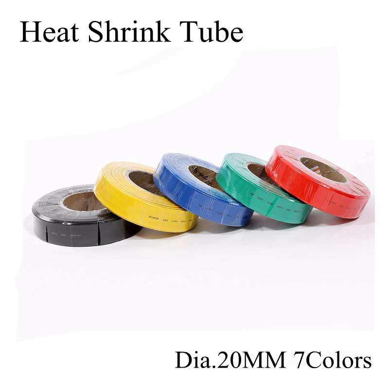 Dia.20mm Red Green Yellow Blue Black White Transparent Assorted Heat Shrink Tube Tubing Wire Wrap Insulation Sleeve