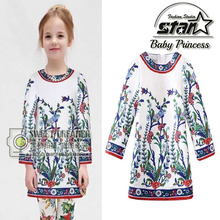 2016 Newest Girl Dress Long Sleeve Children's Princess Dresses Print Flower Clothes Party Kids Dress For Girl Children Clothes