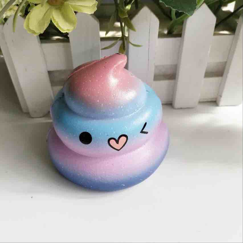 Colorful Face Poo Squishy Slow Rising Jumbo Rainbow Ice Cream DIY Pendant Straps Soft Scented Bread Cake Kid Toy Xmas Gift P15