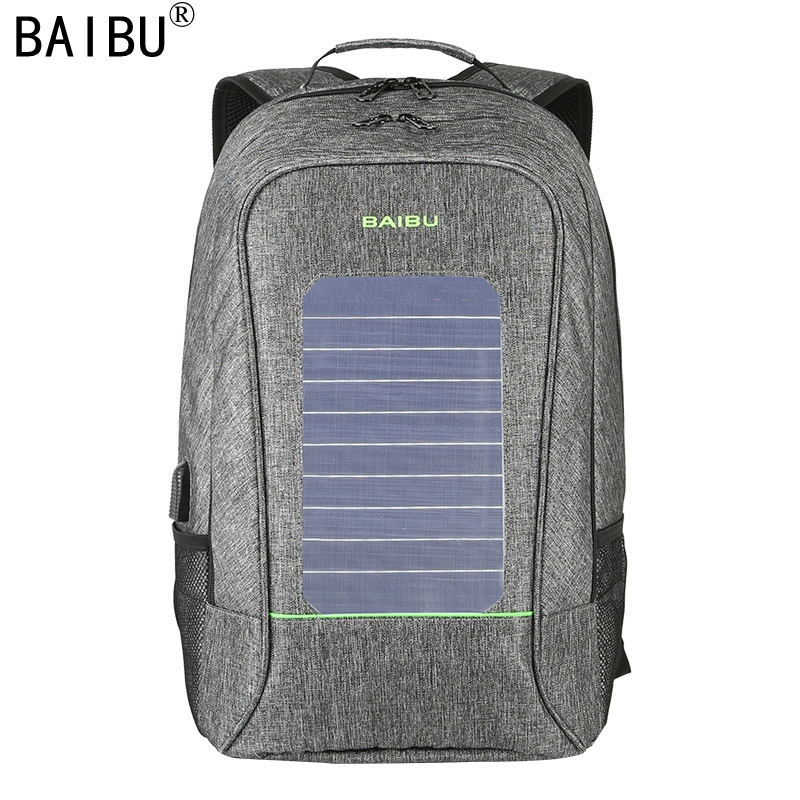 BAIBU Men Backpack Fashion Waterproof Laptop Backpack Solar Powered Backpack Usb Charging Anti-Theft Notebook Bag For Teenagers bopai brand backpack usb charging backpack laptop shoulders anti theft usb backpack 15 inch laptop backpack men waterproof