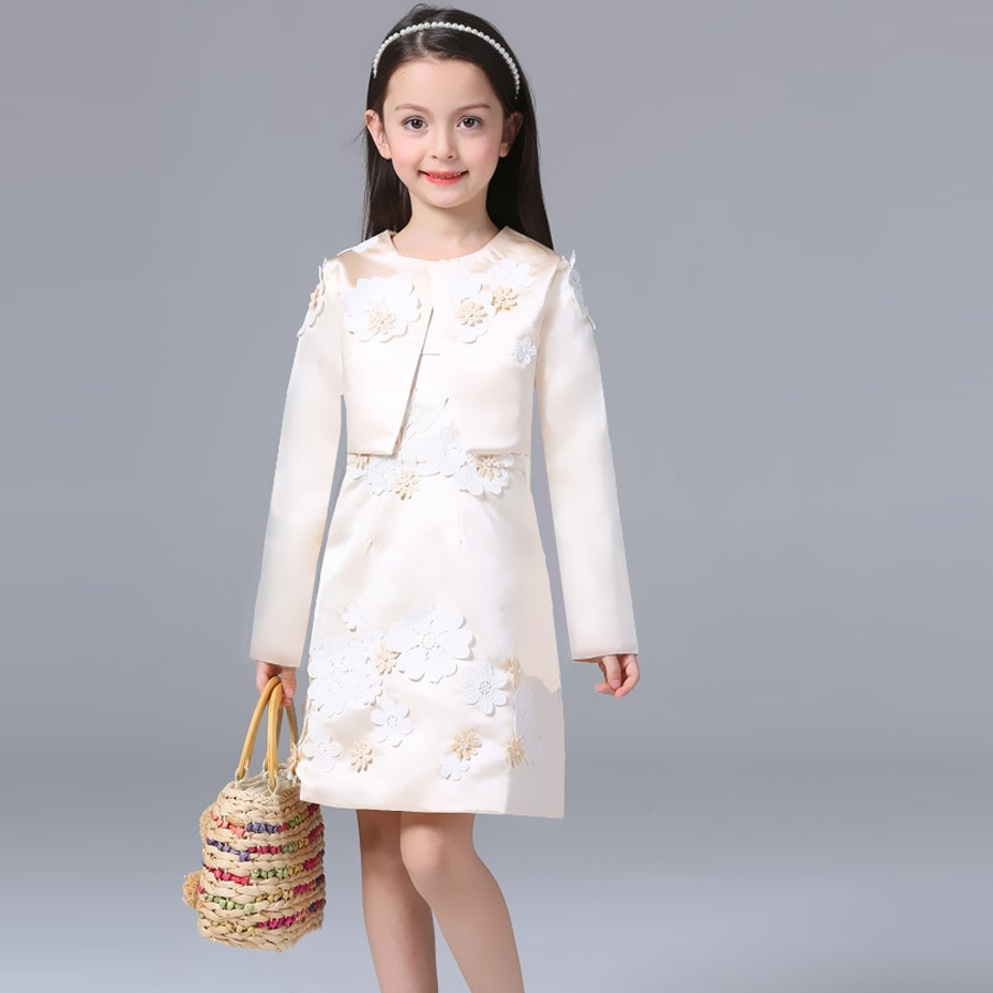 Summer dresses for girls 2016 Kids clothes evening party princess dress children Flower wedding vestido coat 2 Piece Set girls dress 2017 new summer flower kids party dresses for wedding children s princess girl evening prom toddler beading clothes