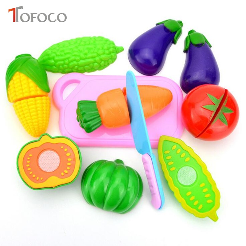 TOFOCO New 4/6/8pcsPlastic ChildrenS Kitchen Set Toys For Kids Cutting Fruits And Vegeta ...