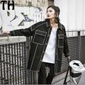 2017 primavera otoño chaqueta de mezclilla negro Harajuku girls High Street Fashion Negro de Manga Larga Bolsillos Denim Chaqueta Z032