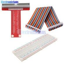 Diy Kit T Förmigen Breakout Extention Board Adapter Platte + 40Pin GPIO Kabel + Breadboard für Raspberry Pi 2 3 B +