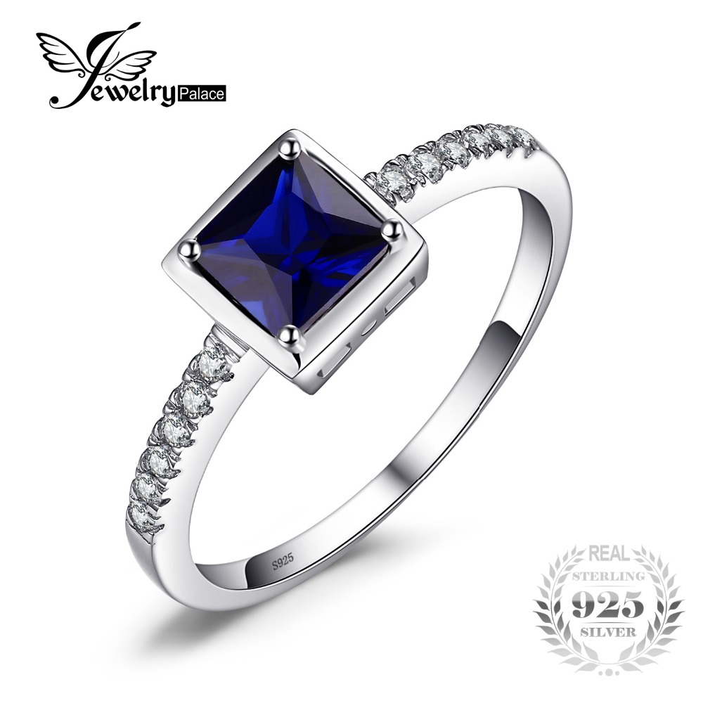 JewelryPalace Square 0 9ct Created Blue Sapphire Solitaire Ring 925 Sterling Silver Jewelry for Fashion Women